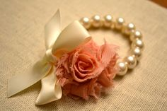 Grace Ivory Pearl Corsage Bracelet with Ivory by LittleMaeDesigns, $12.00