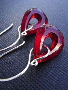 Earrings - sterling silver, vintage glass, teardrop, open hoop, scarlet, ruby hues - Vamp. $31.00, via Etsy.