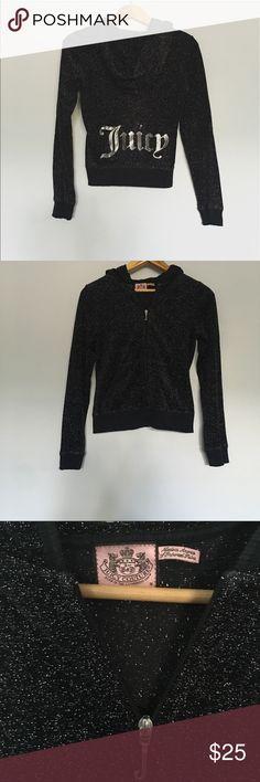 Juicy Couture Black Logo Hoodie Medium Vintage Juicy Couture Sparkly Black with Logo. Perfect condition. Juicy Couture Tops Sweatshirts & Hoodies