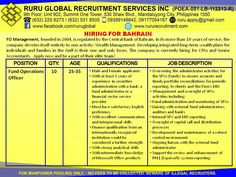 Finance Operations Officer for Bahrain Hiring  Fund Operations Officer  25 to 35 years of age Male and female applicants With at least 3 years of experience in securities administration with a bank, a fund administrator or a financial sector service provider. Must have satisfactory English proficiency With excellent communication and interpersonal skills Finance qualification from an internationally recognized institution would be considered a further strength With strong analytical skills…