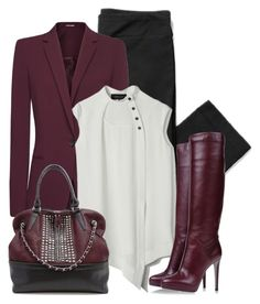 A fashion look from March 2017 featuring purple blazers, sergio rossi boots and studded purse. Browse and shop related looks. Simply Fashion, Fashion For Women Over 40, Work Fashion, Fashion Outfits, Womens Fashion, Business Casual Outfits, Professional Outfits, Classy Outfits, Stylish Outfits