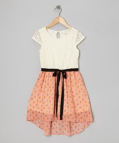 Take a look at this Coral Floral Lace Hi-Low Dress by Monteau Girl on #zulily today!