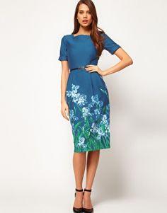 Enlarge ASOS Wiggle Dress In Blue Iris Print $43.85