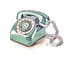Watercolor Painting - Telephone Art, Green Vintage Rotary Telephone, Watercolor Art Print, 8x10. $15,00, via Etsy.