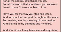 thank you mom quotes from daughter - Google Search   Words to live by and amazing quotes of great minds   Pinterest   Thank You Mom Quotes, Mom Quotes From Dau…