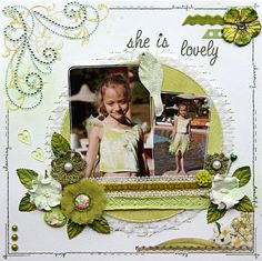 Shabby Look Lovely Page...DT work for Scrapbook Challenges...Scrapbook.com.