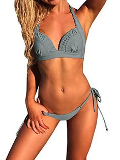 0e7fdbe7a0bfa SySea Womens Sexy Bikini Set Halter Padded Top Two Piece Swimsuit Bathing  Suits Beachwear