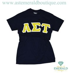 NEW! at Emerald Boutique--Navy Crew Tee w/ Lime Lattice Sewn-On Letters!