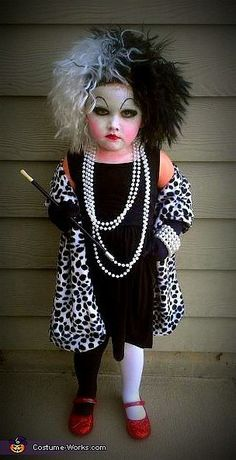 Mini Cruella De Vil: For this creative costume, you'll need some old makeup, costume jewelry, a fabulous scarf, and a sassy toddler with enough attitude to take on Cruella de Vil.
