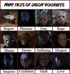 THE many faces of Jason Voorhees.   LOL THIS IS SO GREAT...