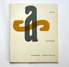 """a striking typographic catalogue cover designed by adolf flückiger (1917-1998). the overprinted letters """"a"""" and """"s"""" stand for the artists featured in this kunsthalle bern exhibition – hans arp and kurt schwitters"""