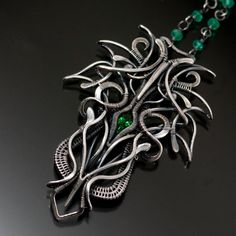 Maleficent Tsavorite Green Garnet Necklace Fine by sarahndippity