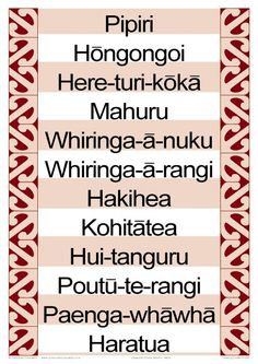 Months of the Year Maori Chart