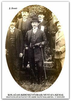 KOLAĞASI (KIDEMLİ YÜZBAŞI) MUSTAFA KEMAL FRANSA'DA DÜZENLENEN PİCARDİE MANEVRALARINDA.  17-28.09.1910