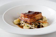 Ponzu glazed Ayrshire pork belly with Sichuan style egg plant, pak choi and fragrant potato dumplings - by Heritage Portfolio