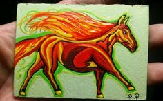 """JOSE Juarez  PAINTING ACEO """" The Fire Horse"""" animals abstract modern ooak raw  #OutsiderArt  ACEO ACEOART ATC Fire Horse, Types Of Art Styles, Les Brown, Sky Sea, Artist Trading Cards, Outsider Art, Large Painting, Atc, My Sunshine"""