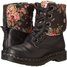 Dr. Martens Triumph 1914 (Black Polished Wyoming) Women's Shoes ($90) ❤ liked on Polyvore featuring shoes, boots, black, short heel boots, black platform boots, platform boots, platform buckle boots and buckle boots