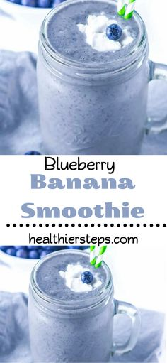Creamy and delicious blueberry banana smoothie this kid-friendly smoothie is perfect for breakfast snack or post-workout. Blueberries almond milk coconut milk banana and flaxseeds. Blueberry Banana Smoothie, Coconut Milk Smoothie, Smoothies With Almond Milk, Smoothies For Kids, Breakfast Smoothies, Smoothie Drinks, Healthy Smoothies, Healthy Drinks, Smoothie Recipes