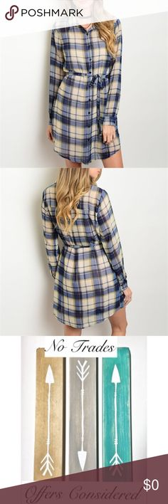 """🍂🆕🍂 Plaid shirt dress 100% Polyester shirt dress features a blue/beige plaid all over print, button up front & sash tie waist. BUILT IN SLIP!! 😱Measurements: L: 38"""" B: 40"""" W: 38"""" taken from Small. Hand wash cold/hang dry/cool iron if needed. Sugar Lips Dresses Midi"""