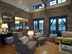 HGTV dream home - color scheme, blue IKAT fabric, b&w checked chairs, pillows