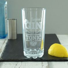 For the dedicated gin connoisseur in your life, Chalk and Cheese have designed the perfect gift with our personalised Gin and Tonic Hi Ball Glass.