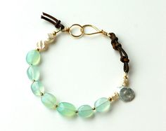 tide pool bracelet: aqua chalcedony and fresh water pearl bracelet in gold and leather. gemstone bracelet. beach, green, aqua. light green