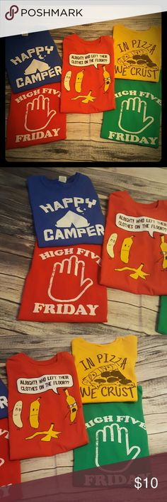 Funny t-shirts, kids medium This is for 5 funny t-shirts.  My kids love these funny shirts, size kids medium.  All my stuff comes from a smoke free and pet free home.  I encourage you to bundle to save on shipping, so check out my closet for other deals! Shirts & Tops Tees - Short Sleeve