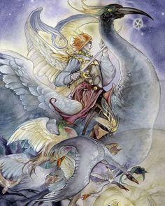 #knight of #Swords from my #shadowscapestarot . #tarotdeck #tarot #art #tarotart #birds #birdart #flying #enchantment #mythic