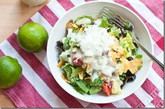 Crispy Tortilla and Black Bean Salad with Creamy Jalapeno Ranch
