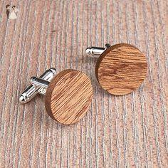 Wood cufflinks. Round cufflinks. Custom personalized initial monogram cufflinks. Real African wood engraved jewelry for men. Wedding groomsmen groom gifts - Groom cufflinks and tie clips (*Amazon Partner-Link)