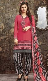 Maroon Color Shaded Embroidered Cotton Salwar Kameez