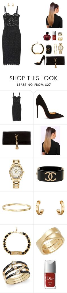 """Untitled #1049"" by r783x ❤ liked on Polyvore featuring Dolce&Gabbana, Christian Louboutin, Yves Saint Laurent, Rolex, Chanel, Cartier, Bloomingdale's and Christian Dior"