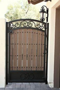 Composite Wood Gate - First Impression Ironworks Garden Doors, Wrought Iron Gates, Wood Gate, Metal Garden Gates, Iron Garden Gates, Iron Doors, Iron Gate Design