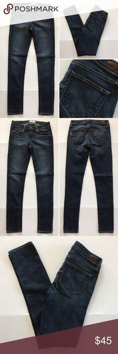 """[Paige] """"Peg Skinny"""" women's denim jeans 28 [Paige] """"Peg Skinny"""" women's denim jeans 28 •🆕listing •good pre-owned condition •length 32"""" •flat front waist measures about 15.5"""" •dark jeans •material 80% cotton 19% polyester 1% elastane •offers and bundles welcomed using the features••• Paige Jeans Jeans Skinny"""