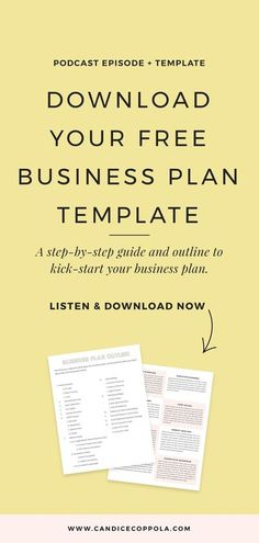 Download a free business plan template, outline & guide. Did you know that writing a business plan for your wedding business will reveal A LOT about your business? Listen to this podcast episode as I walk you through how to develop your wedding business plan, including a free business plan template, guide and outline to get you jumpstarted. Available on the Power in Purpose Podcast, hosted by Candice Coppola, business mentor, coach, published author, and wedding planner/designer. This business p Business Plan Outline, Free Business Plan, Business Plan Template Free, Writing A Business Plan, Business Advice, Start Up Business, Business Entrepreneur, Business Names, Sample Business Plan