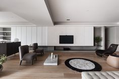 Contemporary apartment located in Taipei, Taiwan, designed by Wei Yi International Design Associates. Living Room Tv, Living Room Modern, Home And Living, Living Room Designs, Living Spaces, Home Interior, Living Room Interior, Modern Interior, Interior Design