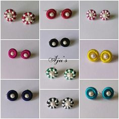 Silk Thread Earrings Designs, Silk Thread Bangles Design, Silk Thread Necklace, Silk Bangles, Thread Jewellery, Silk Thread Jumkas, Paper Quilling Jewelry, Ribbon Jewelry, Bangles Making
