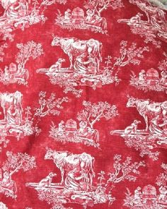waverly la petite ferme red country rooster toile fabric. Black Bedroom Furniture Sets. Home Design Ideas