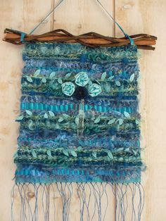 Woven wall hanging tapestry blue and turquoise with roses and ancient pampille vintage owner maker