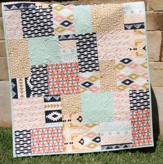 Modern Baby Quilt, Colorful Heirloom Girl Bedding, Crib Cot Nursery, Aztec Arizona Art Gallery Fabrics, Coral Mint Green Navy Gold Peach by SunnysideDesigns2