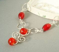 Handmade necklace with red silver foiled beads wire by VeraNasfa, $36.00