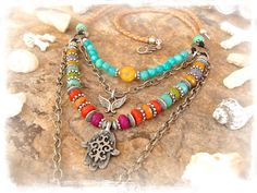 Gypsy HAMSA NECKLACE Fatima Hand Long layered necklace by GPyoga