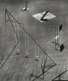 Noguchi Isamu: A model for a set of swings, seesaw and other playground equipment made up of geometric shapes.