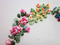 Tour Embroidery Ribbon Garland Online Tutorial Lesson 4 of 8: Rock Rose - YouTube
