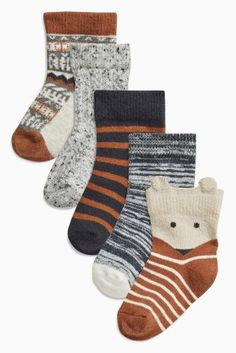 Buy Tan/Ecru Alpine Socks Five Pack (Younger Boys) online today at Next: United States of America