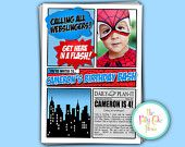 Super Hero Thank You Cards Custom Printable Digital File Birthday Party Gift Boys Spiderman Superman Coordinating Matching invitation. $10.00, via Etsy.