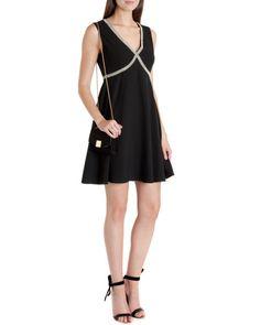 Beaded cross front dress - Black | Dresses | Ted Baker UK