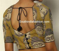 kalamkari blouse back neck designs Simple Blouse Designs, Stylish Blouse Design, Blouse Back Neck Designs, Blouse Neck Patterns, Simple Blouse Pattern, Traditional Blouse Designs, Dress Designs, Kalamkari Blouse Designs, Cotton Saree Blouse Designs