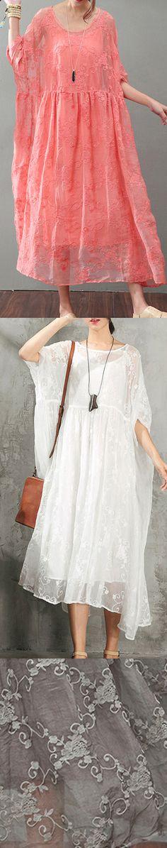 Fine red natural silk dress  Loose fitting lace caftans Elegant bracelet sleeved gown5