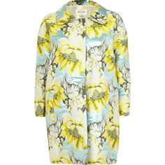 River Island Light yellow floral print coat